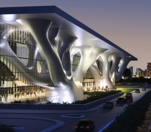 Qatar's new LEED-certified convention center could be as 'green' as Masdar City. It will boast a world first of LED lighting in exhibition halls.