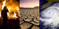 The potential future effects of global climate change include more frequent wildfires, longer periods of drought in some regions and an increase in the number, duration and intensity of tropical storms. Credit: Left - Mellimage/Shutterstock.com, center - Montree Hanlue/Shutterstock.com.