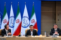 United Nations Secretary General Ban Ki-moon, Iran's President Mahmoud Ahmadinejad, and Egypt's President Mohamed Morsi (l.-r.) attend the Non-Aligned Movement summit in Tehran, Iran, Thursday. Majid Asgaripour/Mehr News Agency/Reuters