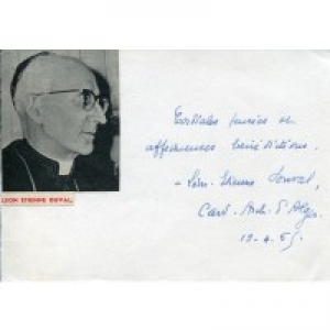 "The handwriting reads, ""Cordial thoughts and affectionate blessings, Léon-Etienne Duval, Cardinal Archbishop of Algiers,"" April 19, 1965"