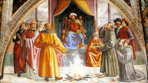 """Despite being a popular artistic way to depict St. Francis and the Sultan, no early accounts of their meeting feature Francis offering to walk through fire to convert al-Kamil""; blog post by Allison Kenny, Feb. 4, 2019"