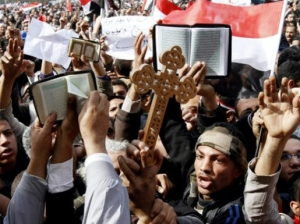 Muslims demonstrating their support for Christians in Tahrir Square on Feb. 9th, 2011