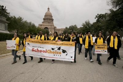 """Texas Land Commissioner George P. Bush led a rally at the Capitol today (Jan 30, 2015) in support of school vouchers and expanded charter school in Texas."" Credit Bob Daemmrich/Texas Tribune"