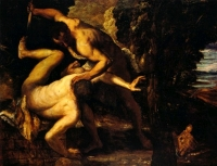 Cain, son of Adam, kills his brother