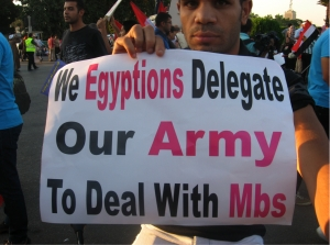 Picture taken by blog author, Assistant Professor Sarah Eltantawi, who spent a whole day in late July 2013 in Tahrir Square interviewing pro-Sisi supporters.