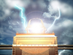 """Shekinah Glory,"" an artistic rendition of the Ark of the Covenant in the Holy of Holies"